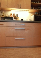Cabinets are made locally from FSC certified prefinished maple veneer plywood with no added urea formaldehyde.