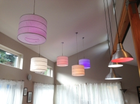 LED lightbulbs can be controlled from a smart phone, and can be set to a variety of colors and intensities. Photo by Parie Hines.