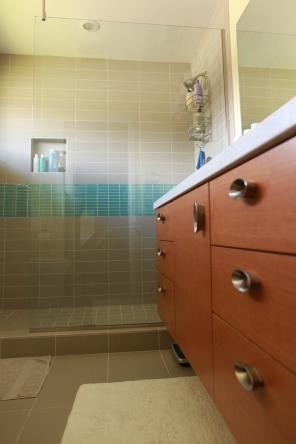 New bathroom cabinets.