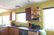 The kitchen sink and counter area.