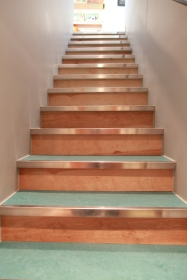 Steps up from the basement. Marmoleum, plywood, and metal nosings are a cost effective material choice.